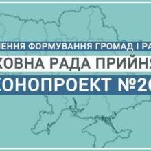 Верховна Рада прийняла законопроект, необхідний для завершення формування спроможних громад і нових районів