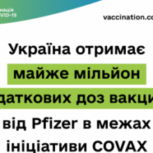 Україна отримає майже мільйон додаткових доз вакцини від Рfizer в межах ініціативи Сovax