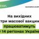 На вихідних центри масової вакцинації працюватимуть у 14 регіонах України