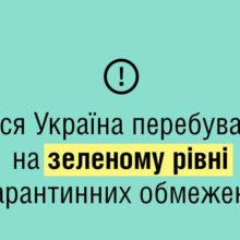 На всій території України діє зелений рівень епідемічної небезпеки – МОЗ