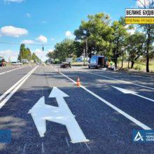 На обході Черкас наносять розмітку, встановлюють дорожні знаки
